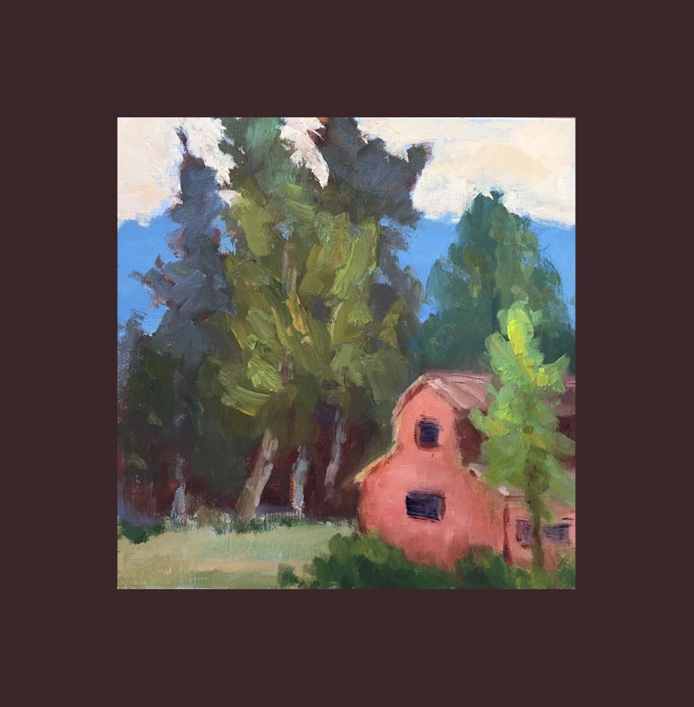 """""""Trees and Funny Little Barn"""" original fine art by Victoria  Biedron"""