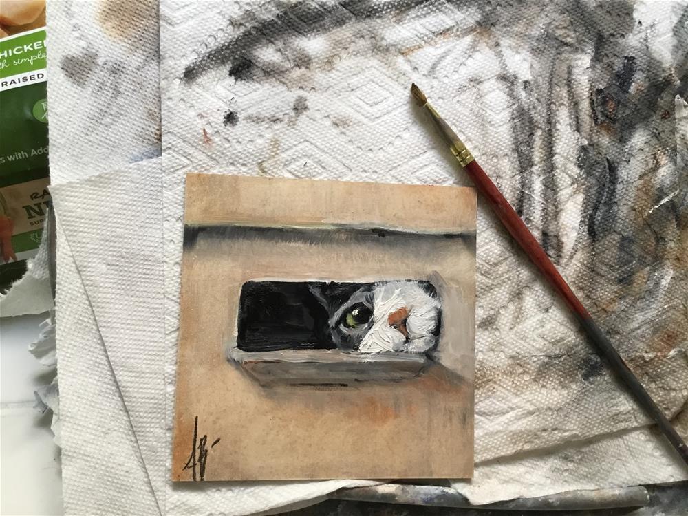 """""""Cat in cardboard box"""" original fine art by Annette Balesteri"""