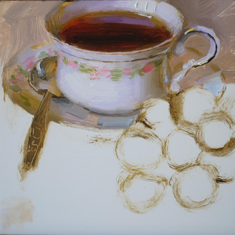 """Black Grapes and Tea"" original fine art by Elena Katsyura"