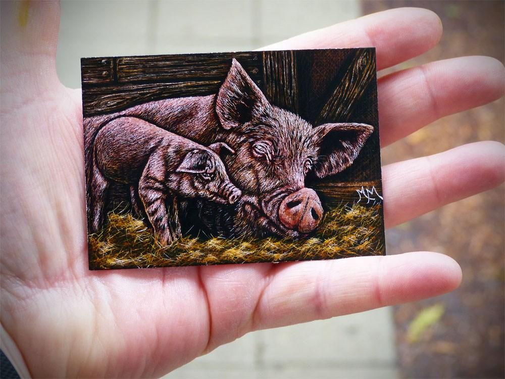 """""""Mommy & Piggy"""" original fine art by Monique Morin Matson"""