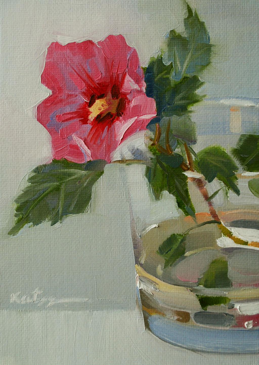 """Pink Flower"" original fine art by Elena Katsyura"