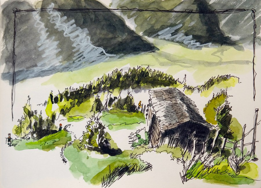 """1855 Alm-Sketching-Hiking"" original fine art by Dietmar Stiller"
