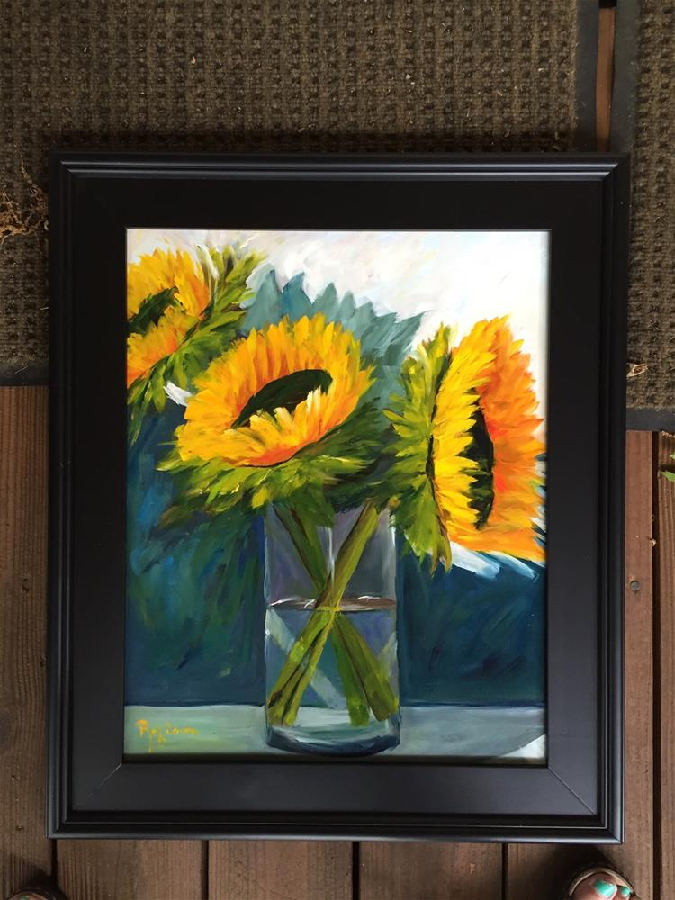 """Sunflower Trio"" original fine art by Renee Robison"
