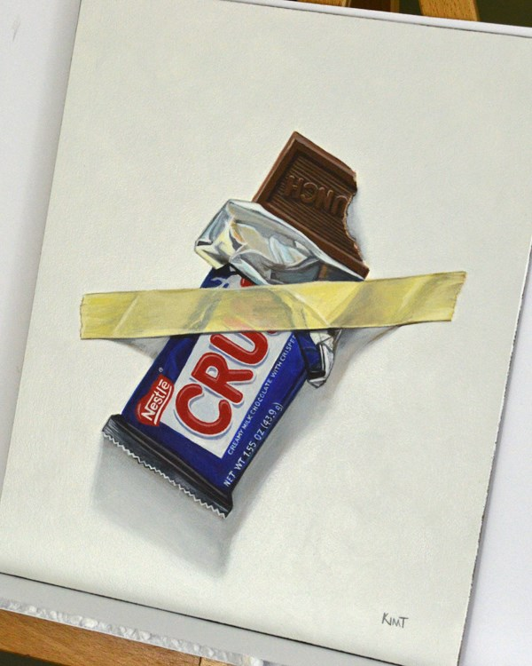 """""""Nestle Crunch (I'll Save the Rest for Later)"""" original fine art by Kim Testone"""