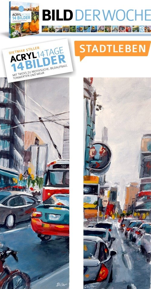 """2189 CITY LIFE 2 (Painting of the week #13b)"" original fine art by Dietmar Stiller"