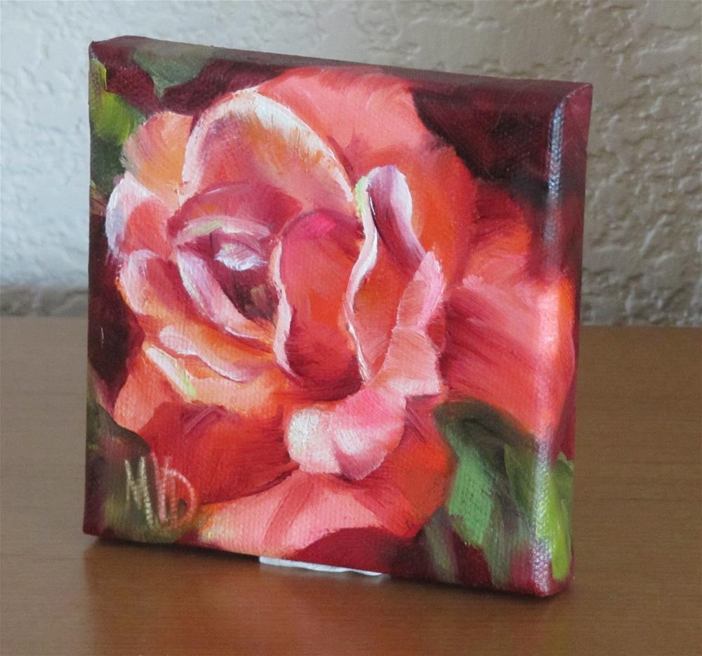 """""""Vermillion Rose"""" original fine art by Mary Van Deman"""