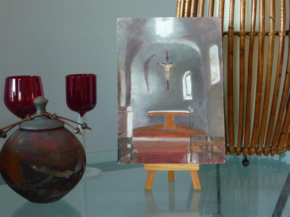 """Gubbio Italy Church 5x7"" original fine art by Mary Pyche"