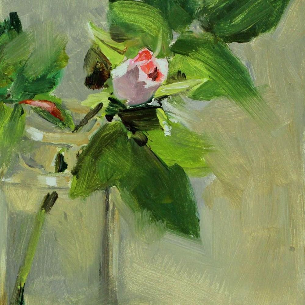 """One Rosebud"" original fine art by Gretchen Hancock"