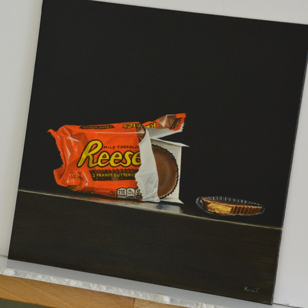 """Reese's Peanut Butter Cups, Center Stage Please"" original fine art by Kim Testone"
