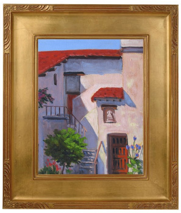 """Stairway at Carmel Mission"" original fine art by Rhett Regina Owings"