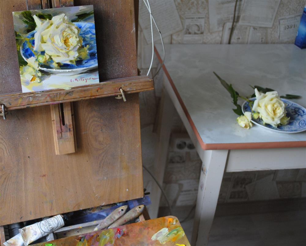 """Yellow Rose on Blue"" original fine art by Elena Katsyura"