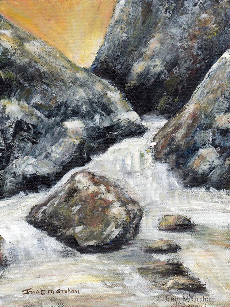 """Sunrise Rapids"" original fine art by Janet Graham"
