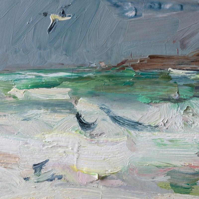 """Stormy Sea and Seagull"" original fine art by Anna Fine Art"