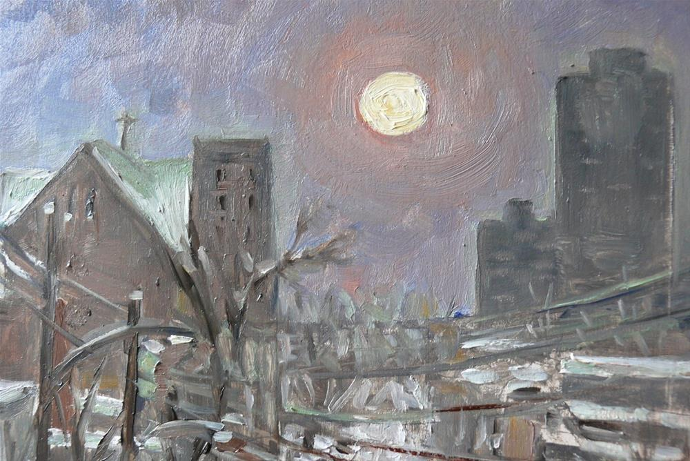 """1135 Full Moon Over Montreal, 8x10, oil on board"" original fine art by Darlene Young"