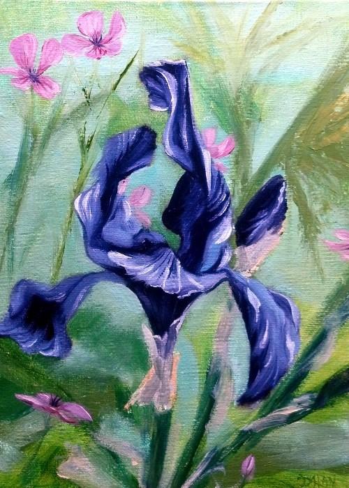 """Purple Iris 5x7"" original fine art by Dalan Wells"