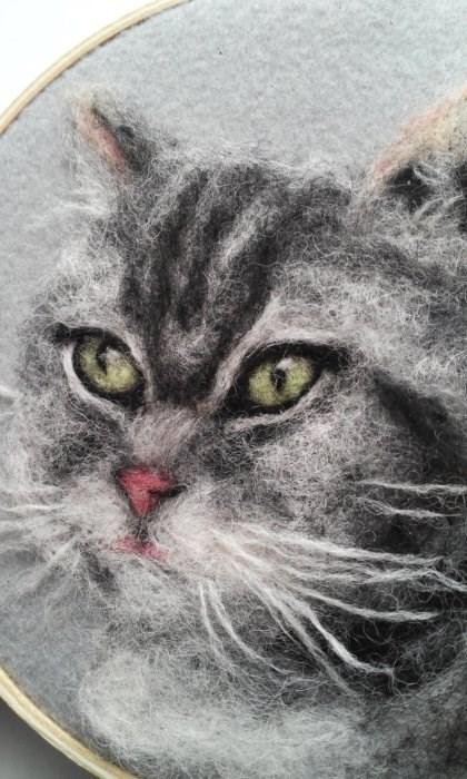 """Green Eyed Cat"" original fine art by Camille Morgan"