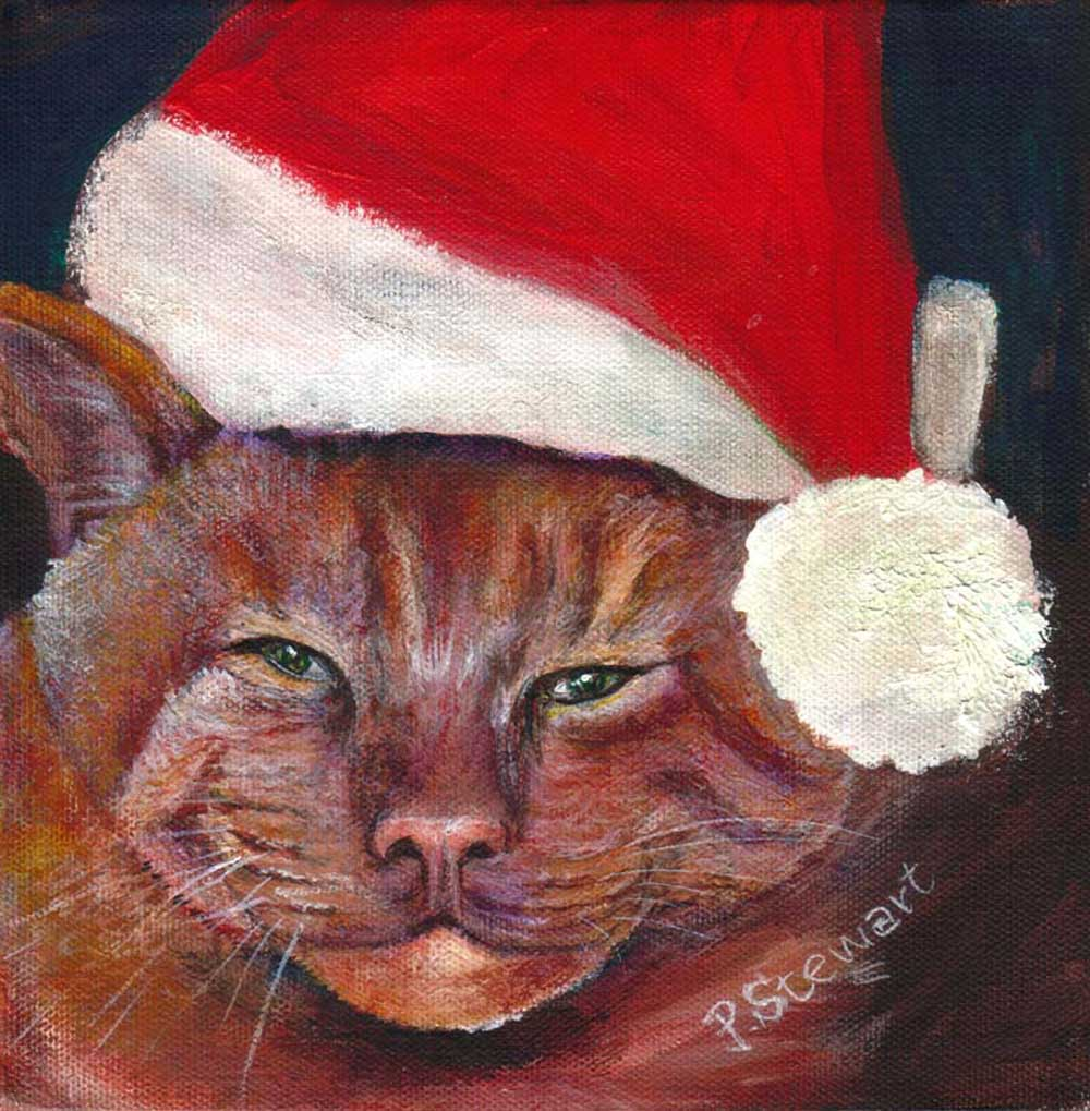 """Junior, The Bad Cat, Ready for Christmas."" original fine art by Penny Lee StewArt"