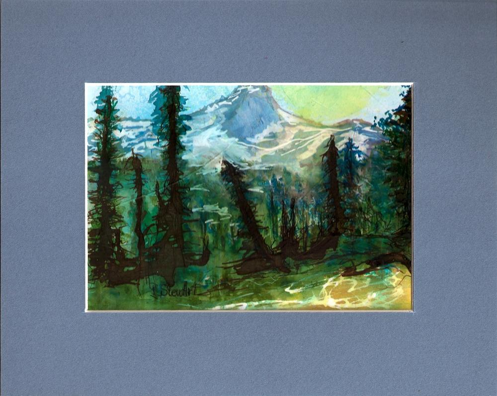 """5x7 Mountains and Trees Landscape Mixed Media by Penny StewArt"" original fine art by Penny Lee StewArt"