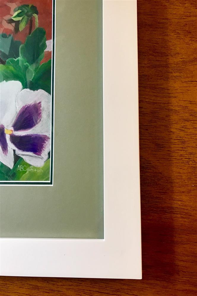 """Pansy Trio (matted and framed)"" original fine art by Arlene Crafton"