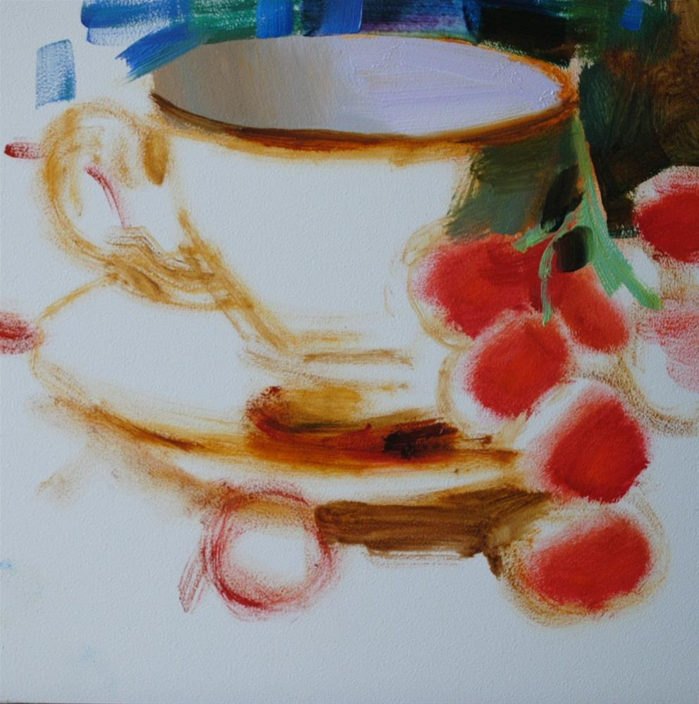 """Teacup and Red Grapes"" original fine art by Elena Katsyura"