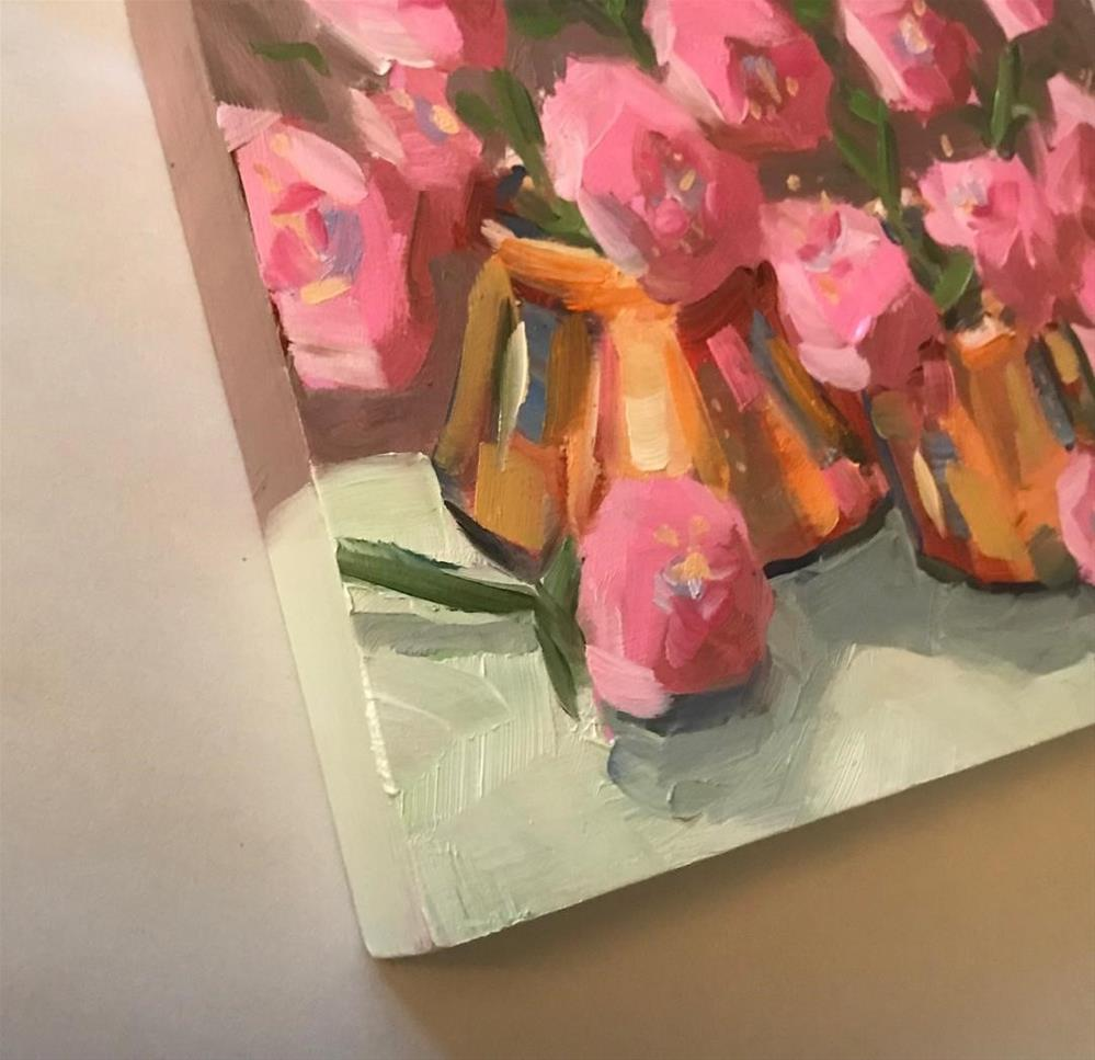 """perky pink in copper pots"" original fine art by Nora MacPhail"
