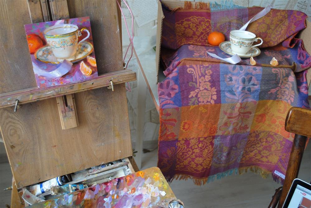 """Teacup on Lilac"" original fine art by Elena Katsyura"