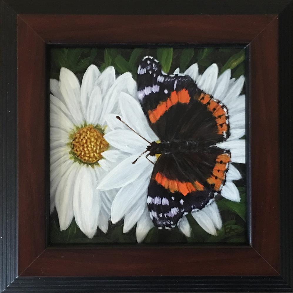 """Red Admiral on Daisies, framed"" original fine art by Elizabeth Elgin"