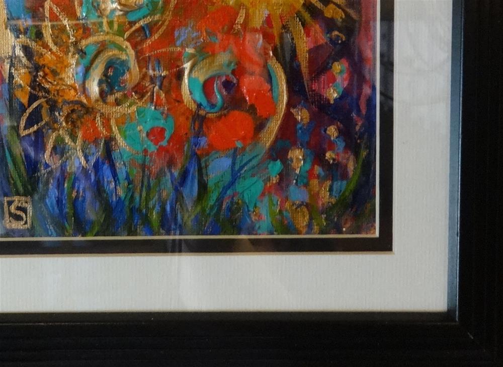 """4143 - Framed - The Crazy Gardener - Oak Look Frame"" original fine art by Sea Dean"