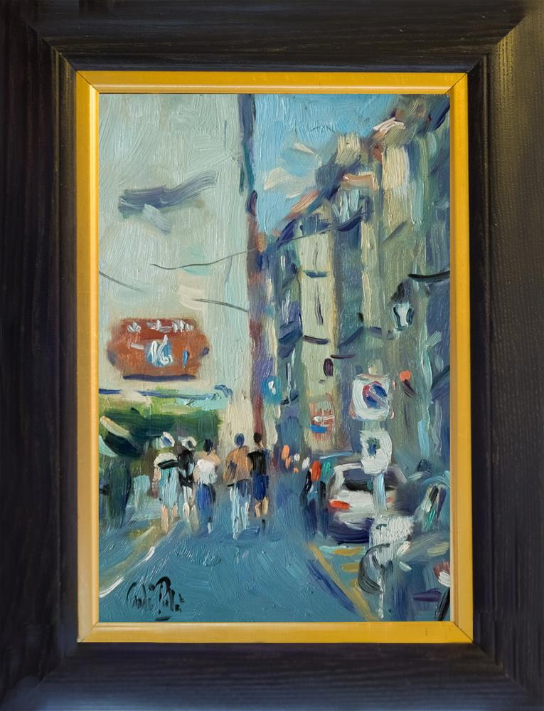 """""""Street in Arles with Red Sign"""" original fine art by Andre Pallat"""
