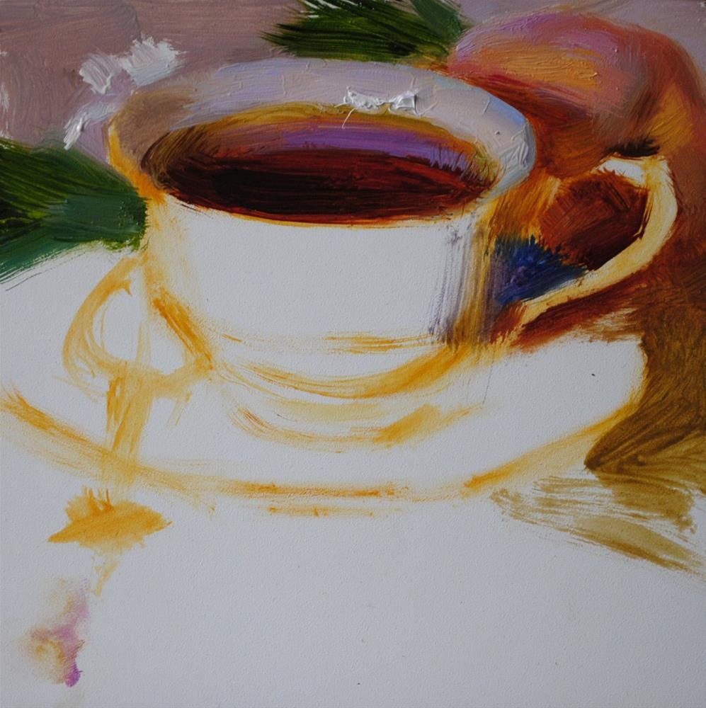 """Tea, Peach and Blossoms"" original fine art by Elena Katsyura"