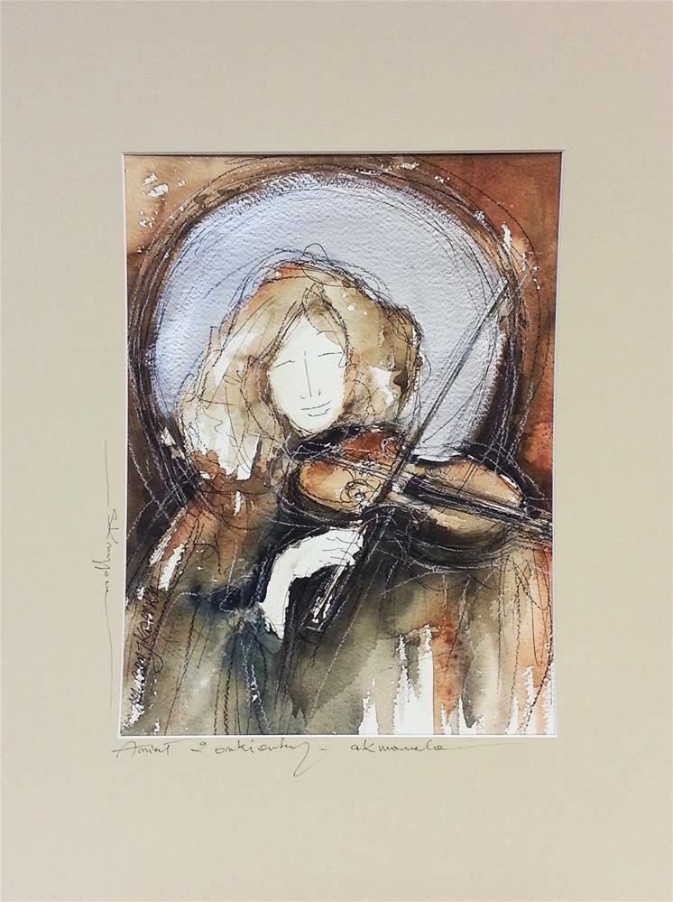 """Violinist angel"" original fine art by Marlena Czajkowska"