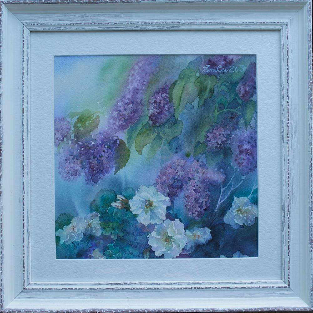 """Lilacs And Scotch Roses"" original fine art by Emilia Leinonen"