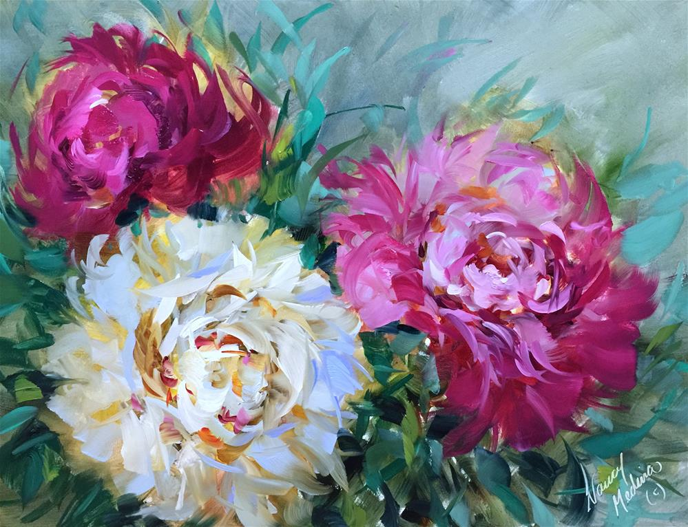 """Pinwheels and Peonies - The Joyful Brush Is Here!"" original fine art by Nancy Medina"