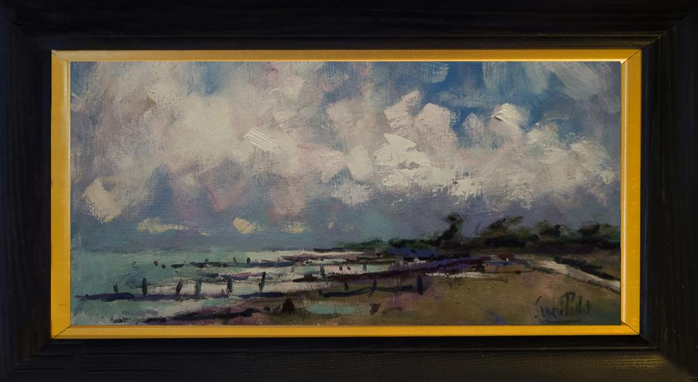 """""""Clouds and Breakwaters on West Sussex Beach"""" original fine art by Andre Pallat"""
