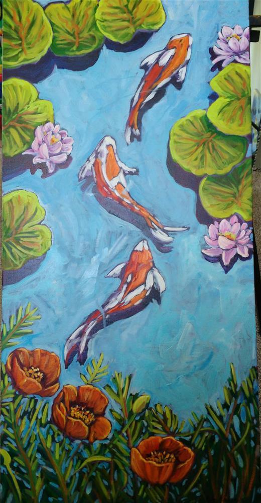 """""""Koi pond"""" original fine art by Robyn Suzanne"""