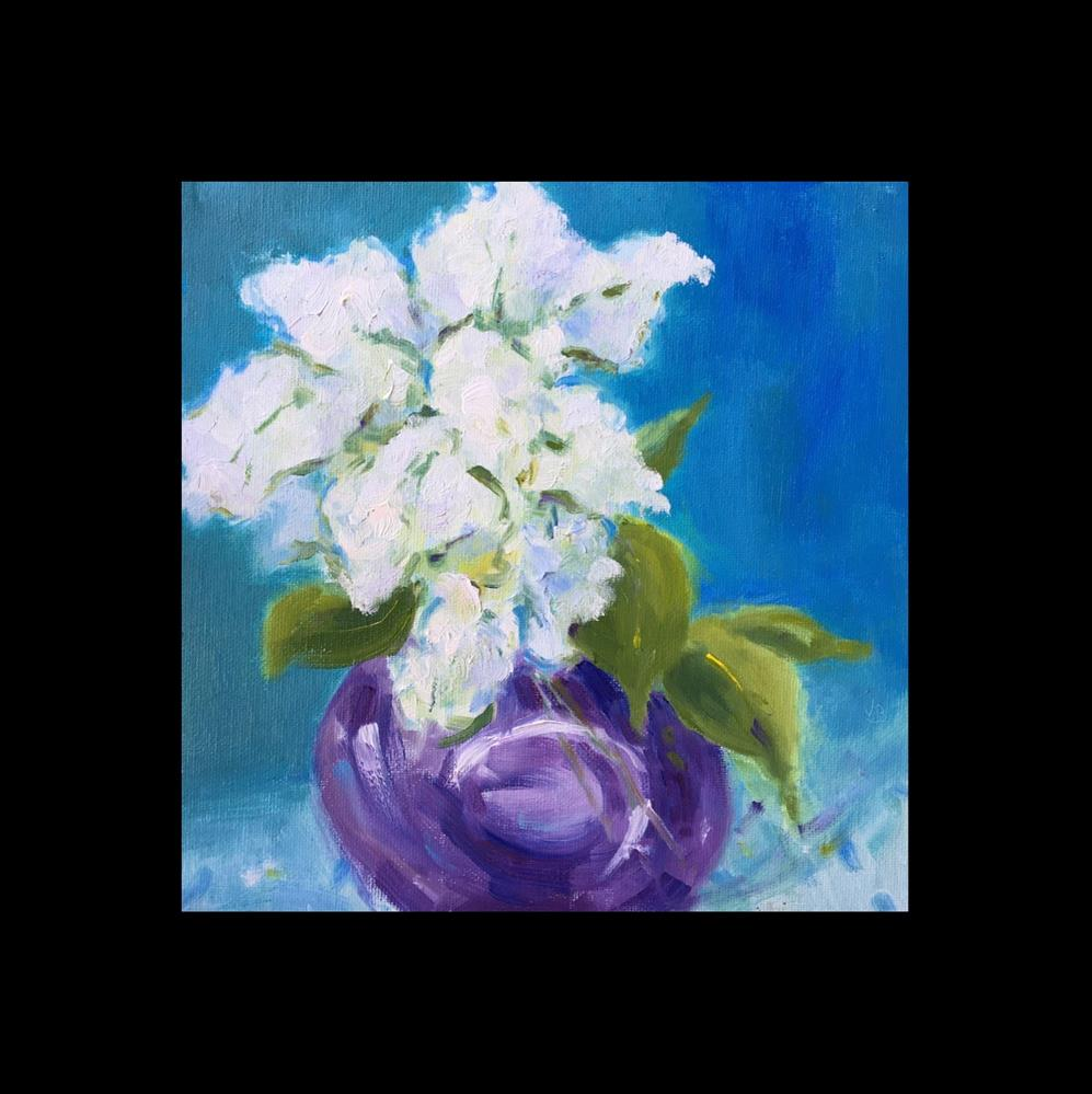 """White Lilacs, Purple Vase"" original fine art by Victoria  Biedron"