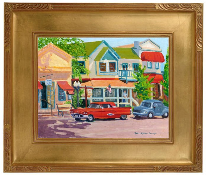 """The Red Car on Main Street, Murphys"" original fine art by Rhett Regina Owings"