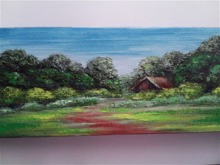 """Little House in the Trees"" original fine art by Camille Morgan"