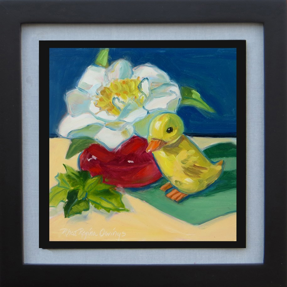 """White Camellia with Duck"" original fine art by Rhett Regina Owings"