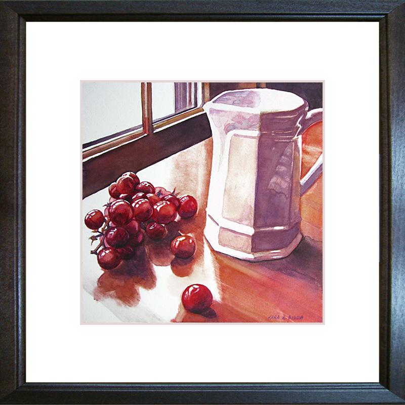 """White Pitcher with Grapes"" original fine art by Kara K. Bigda"