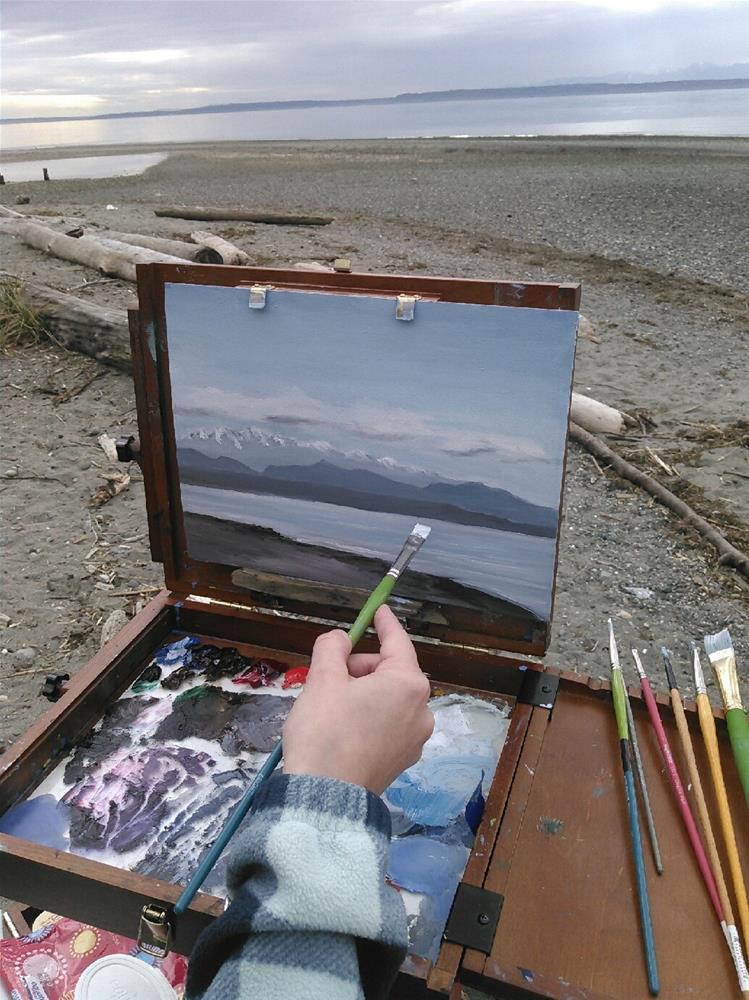 """Peaceful Beach on the Sound"" original fine art by Jenny Kinberg"