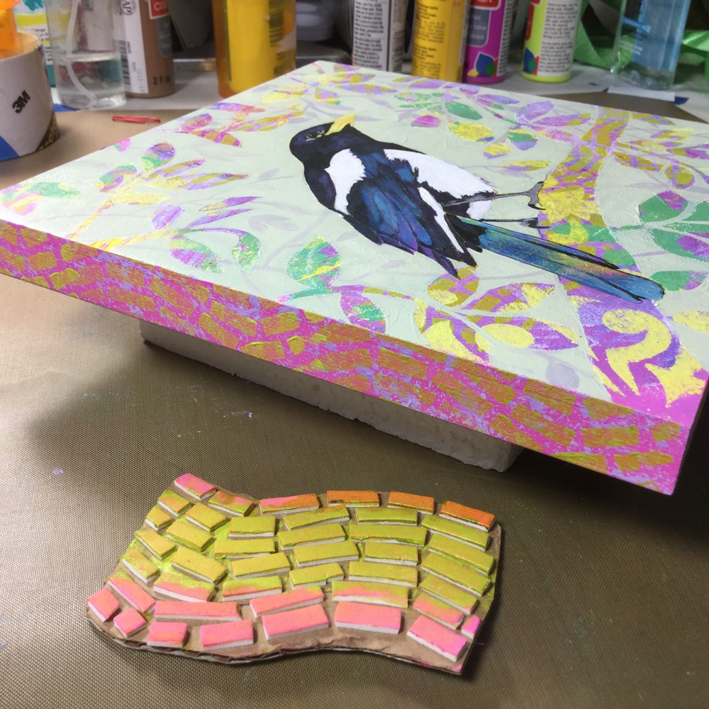 """Yellow Billed Magpie"" original fine art by Rhett Regina Owings"