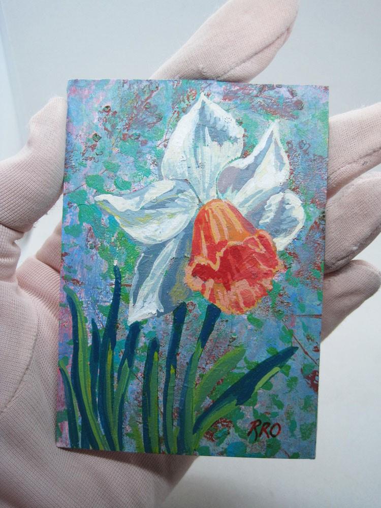 """Large-Cupped Daffodil Chromacolor"" original fine art by Rhett Regina Owings"