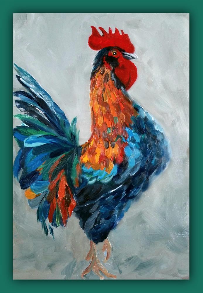 """Strutting-Mr. Rooster"" original fine art by Dana C"