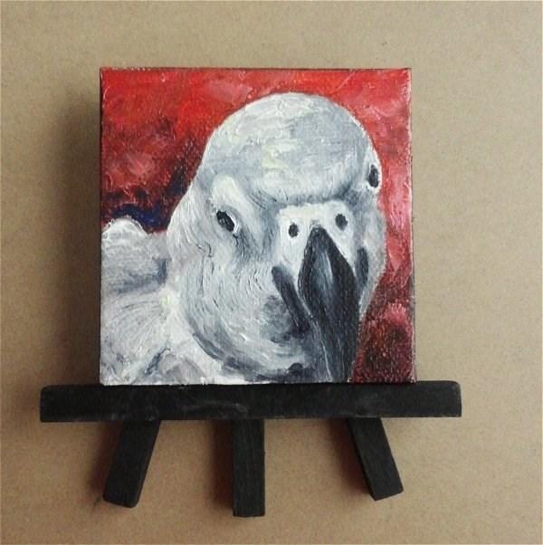 """Mini Oil Painting Bird African Grey Parrot Pet Portrait"" original fine art by Camille Morgan"