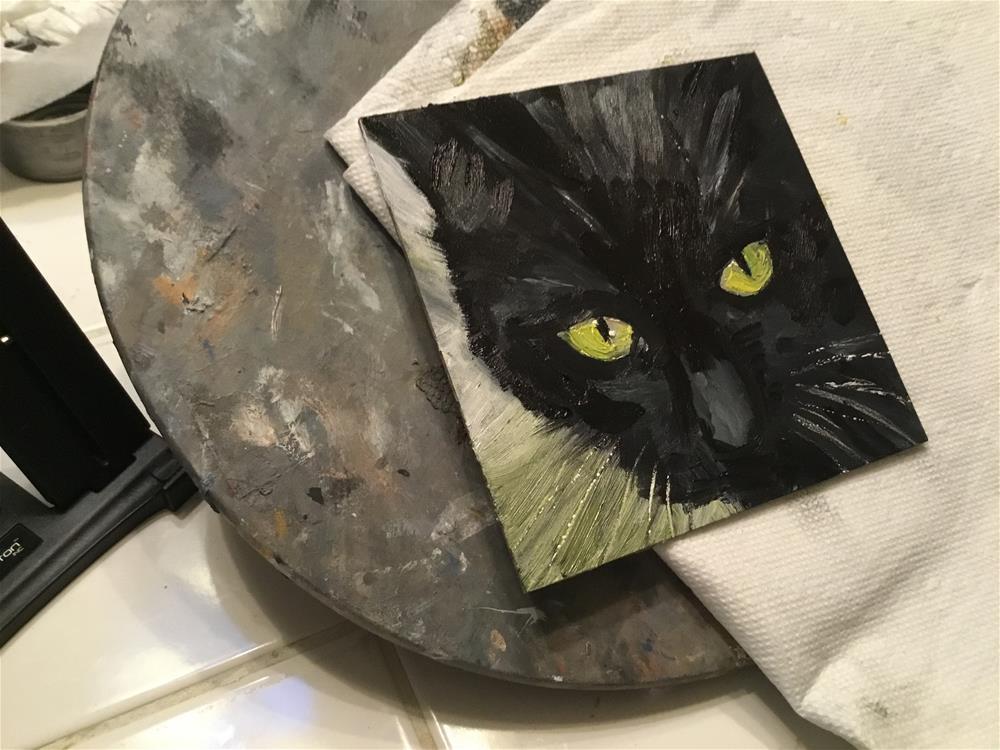 """Halloween cat"" original fine art by Annette Balesteri"