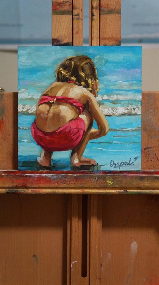 """Little girl playing"" original fine art by Dipali Rabadiya"