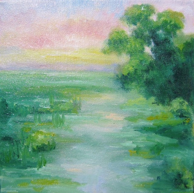 """""""Sunrise in a land of our time"""" original fine art by Astrid Buchhammer"""
