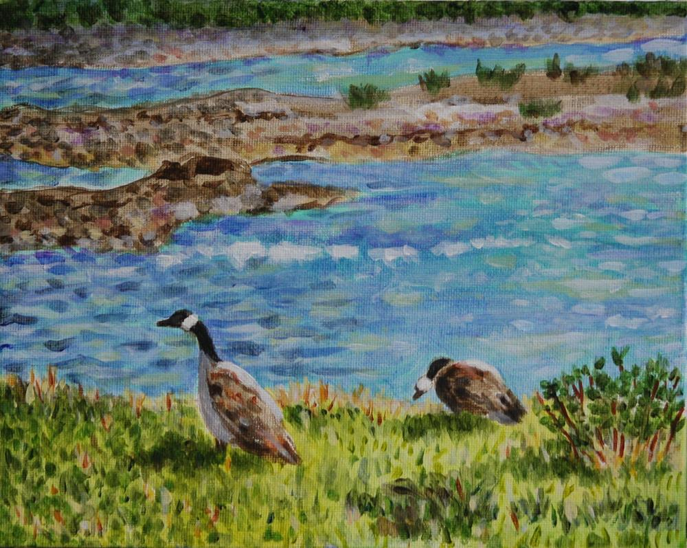 """""""Canada Geese on the Athabasca River"""" original fine art by Terri-Anne Barge"""