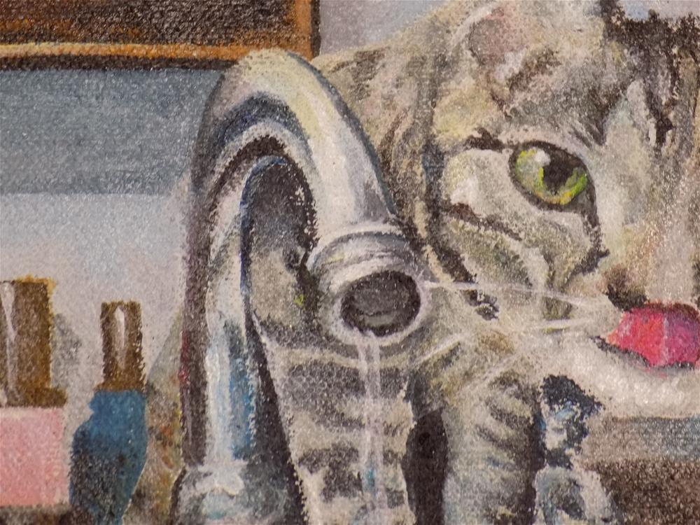 """Kitties having a drink"" original fine art by tara stephanos"